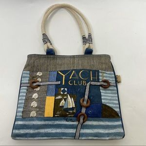 Paul Brent Yacht Club Bag Blue Brown Yellow